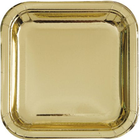 "Gold Party Plates 9""- 8ct"