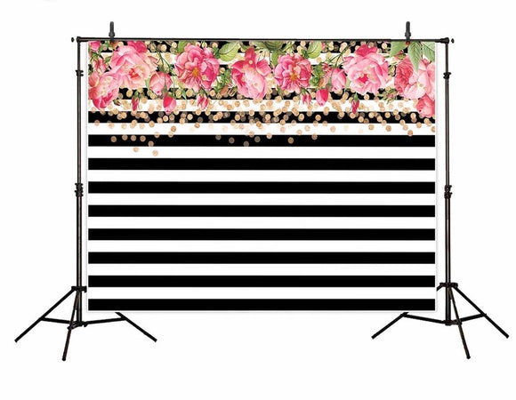Black & White Striped with Floral Backdrop- Rental