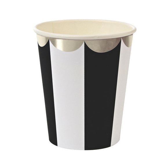 Black Stripe with Silver Rim Cups
