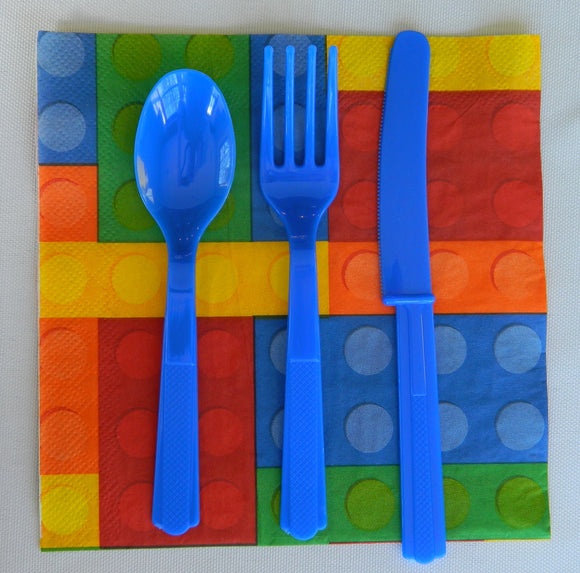 Blue Plastic Cutlery- 24ct