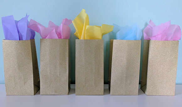 Pre-assembled Rainbow Party Favor Bags- 5ct