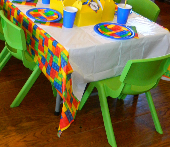 Building Block Party Plastic Table Cover