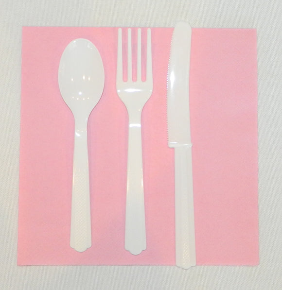 White Plastic Cutlery- 24ct