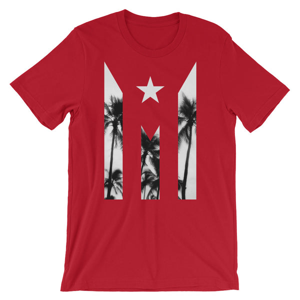 Official #PuertoRicoSeLevanta® Puerto Rico Abstract Flag Palms T-Shirt