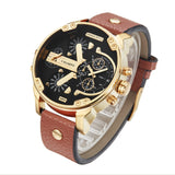 Cagarny Mens Watches Top Brand Luxury Black Leather Quartz Wrist Watch Men Sport  6820
