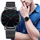 Hot Fashion Men Black Stainless Steel Mesh Belt GENEVA Watch Luxury Men Sport Watch Quartz.