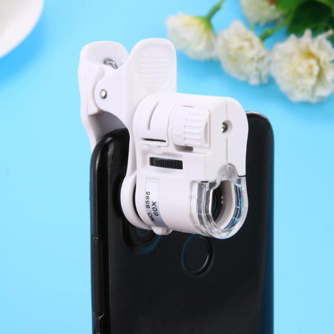 Universal 60X Phone Microscope Zoom Micro Camera Clip Lens with LED Light Microscope Magnifying Glass .