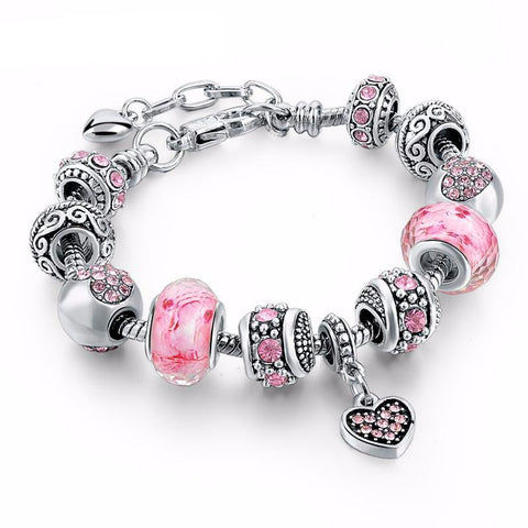 Silver Color DIY Jewelry Flower Beads Charm Bracelet