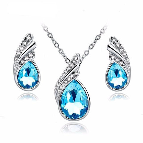 Fashion Jewelry Sets Silver Color Rhinestone Jewelry Sets