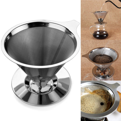 Home Stainless Steel Pour Over Cone Coffee Dripper Double Layer