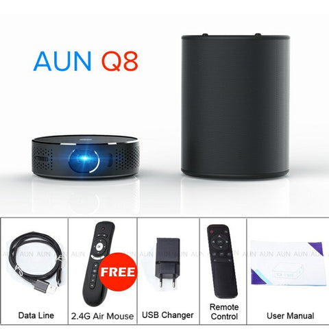 AUN Portable Projector Q8 Set in Android 5.1 WIFI HDMI. 10900mAH Battery Power Bank for LED Projector, Use as Bluetooth Speaker
