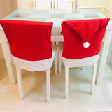 Christmas Santa Clause Hats Caps Chair Back Cover