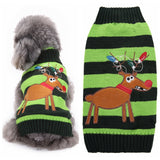 Christmas Dog Clothes Green Reindeer Striped Dog Sweater