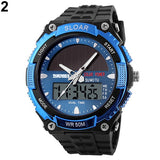 spor saat Men Sports Watch Solar Power Dual Time Display Water Resistant Electronic Military Wrist Watch.