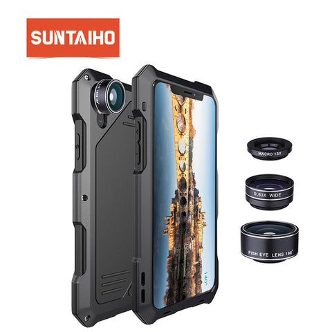 Suntaiho for X Case Cover Fisheye Camera Lens for iPhone 7 case for iPhone 8  PLUS 6 6s Shockproof Dirtproof 3 in 1 Lens