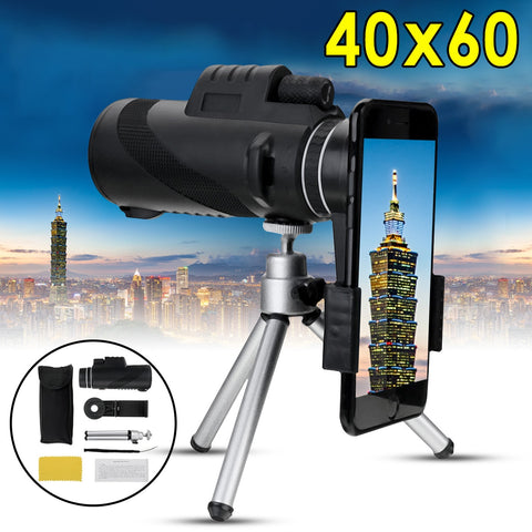 40X60 Zoom HD Lens Mini Night Vision Monocular Telescope with Tripod Phone Clip Handheld Binoculars for Outdoor Hunting Camping