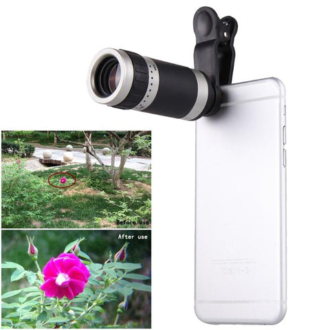 Universal 8X Zoom HD Optical Lens Telescope for Mobile Phone Camera Silvery