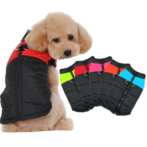 Cotton Padded Clothes Winter Vest with Harness Hole for Dogs