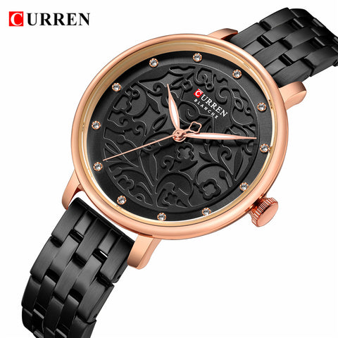 2019 CURREN New Black Women Watch Business Quartz Watch.