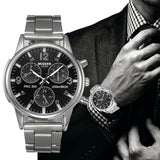 Classic Geneva Silver Fashion Men Watch Crystal Glass Stainless Steel Analog Quartz Wrist Watch Bracelet Man Gift Clock.