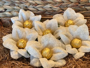 Burlap and Bells - box of 6 flowers