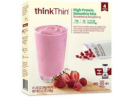 Thik Thin High Protein Smoothie Mix Strawberry Raspberry4 count Box 3