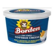 Borden Fat Free Cottage Cheese, 24 Fluid Ounce -- 6 per case.