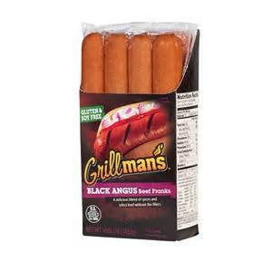 GRILLMANS FRANKS HOT DOGS BEEF BLACK ANGUS 16 OZ PACK OF 3