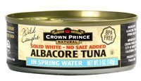 Crown Prince Natural Albacore Tuna Solid White In Spring Water No Salt Added -- 5 oz
