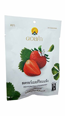 3 Packs of Dehydrated Strawberry, Made From Real Strawberry, Delicious Snack From Doi Kham Brand, Royal Project Product from Thailand. Natural Color and Flavor Added. (25 g/ pack)