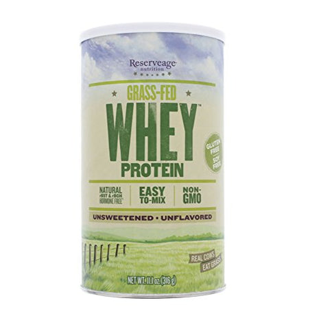 Reservage Nutrition Grassâ€'Fed Whey Protein, Unflavored 11.1 OZ (Pack of 1) + (Vitaminder Power Shaker Bottle, 20 oz Bottle)