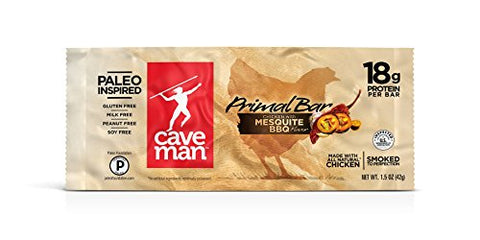 Caveman Foods Chicken Primal Bar, Mesquite BBQ, 12 Count