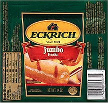 ECKRICH JUMBO FRANKS HOT DOGS MEAT 14 OZ PACK OF 2
