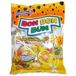 BON BON BUM COLOMBINA BUBBLE GUM FILLED LOLLIPOPS PASION FRUIT FLAVOR 24 UNITS