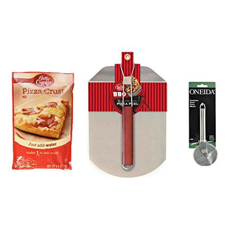 Deluxe Pizza Bundle With 1 Betty Crocker Pizza Crust Mix - Plus 1 TableCraft Stainless Steel Pizza Peel With Wood Handle and 1 Pizza Cutter