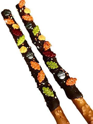 Fall, Autumn Chocolate Covered Pretzel Sticks, Thanksgiving