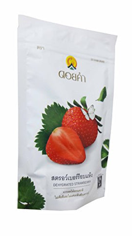 2 Packs of Dehydrated Strawberry, Made From Real Strawberry, Delicious Snack From Doi Kham Brand, Royal Project Product from Thailand. Natural Color and Flavor Added. (140 g/ pack)