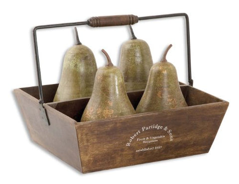 Uttermost Decorative Pears In Basket Set/5 with Pears Are Heavily Distressed