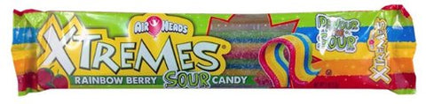 Airheads Xtremes Sour Belts Candy, Rainbow Berry, 2 Oz (Pack of 9)