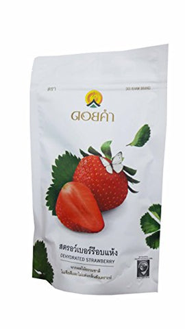 Dehydrated Strawberry, Made From Real Strawberry, Deliicious Snack From Doi Kham Brand, Royal Project Product from Thailand. Natural Color and Flavor Added. (140 g/ pack)