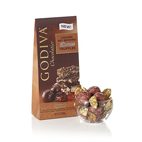 Godiva Chocolatier Caramel Nut Brownie Dessert Truffles Layered Wt 4.4 Oz ( 125 G )