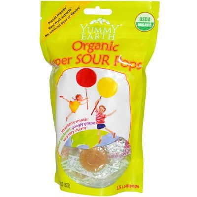 Organic Lollipops Super Sour - 3 oz,(Yummy Earth)