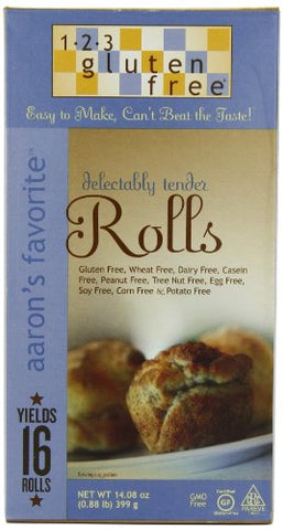 123 Gluten Free Aaron's Favorite Rolls Mix, 14.08-Ounce Boxes (Pack of 3)