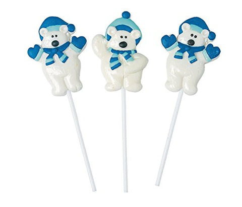 Polar Bear Frosted Suckers (12 Pack) - Stocking Stuffers & Toys & Candy