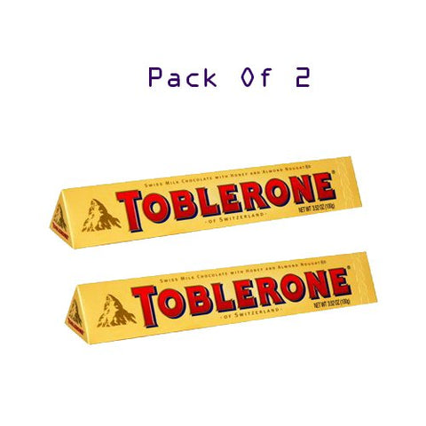 Toblerone Swiss Milk Chocolate Bar With Honey & Almond Nougat 3.52oz [ Pack of 2 ]