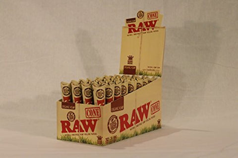 3 Raw ORGANIC Cones Pre-Rolled Rolling Papers, Raw ORGANIC Natural Unrefined Cones Rolling Paper King Size, 1 Pack of 3 Cones + Beamer Smoke Limited Edition Sticker