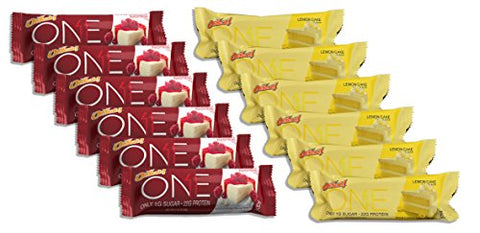ONE Bar 6 Lemon Cake/6 White Chocolate Raspberry (12 Bars Total)
