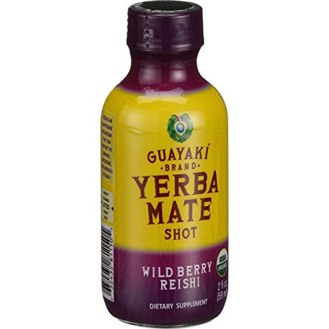 Guayaki Organic Yerba Mate Energy Shot - Wild Berry Reishi - 2 oz - Case of 12