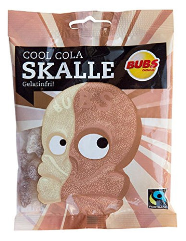 2 Bags x 90g of Bubs Godis Cool Cola - Skalle - Skallar - Skull - Swedish - Sour - Gelatine Free - Wine Gums - Candy - Sweets
