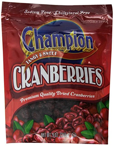 Champion Tangy and Sweet Cranberries, 9 Ounce (Pack of 12)